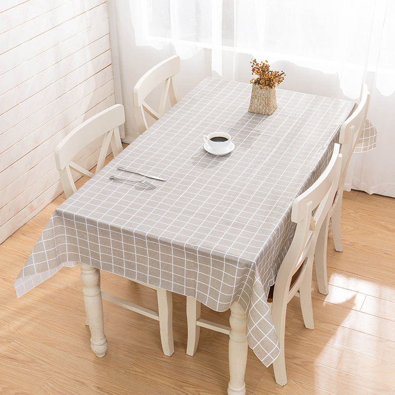 Brief Plaid Waterproof Tablecloth Living Room Kitchen PVC Plastic SoftGlass Table Cloth Rectangle Dinning Table Cover Mat Tapete
