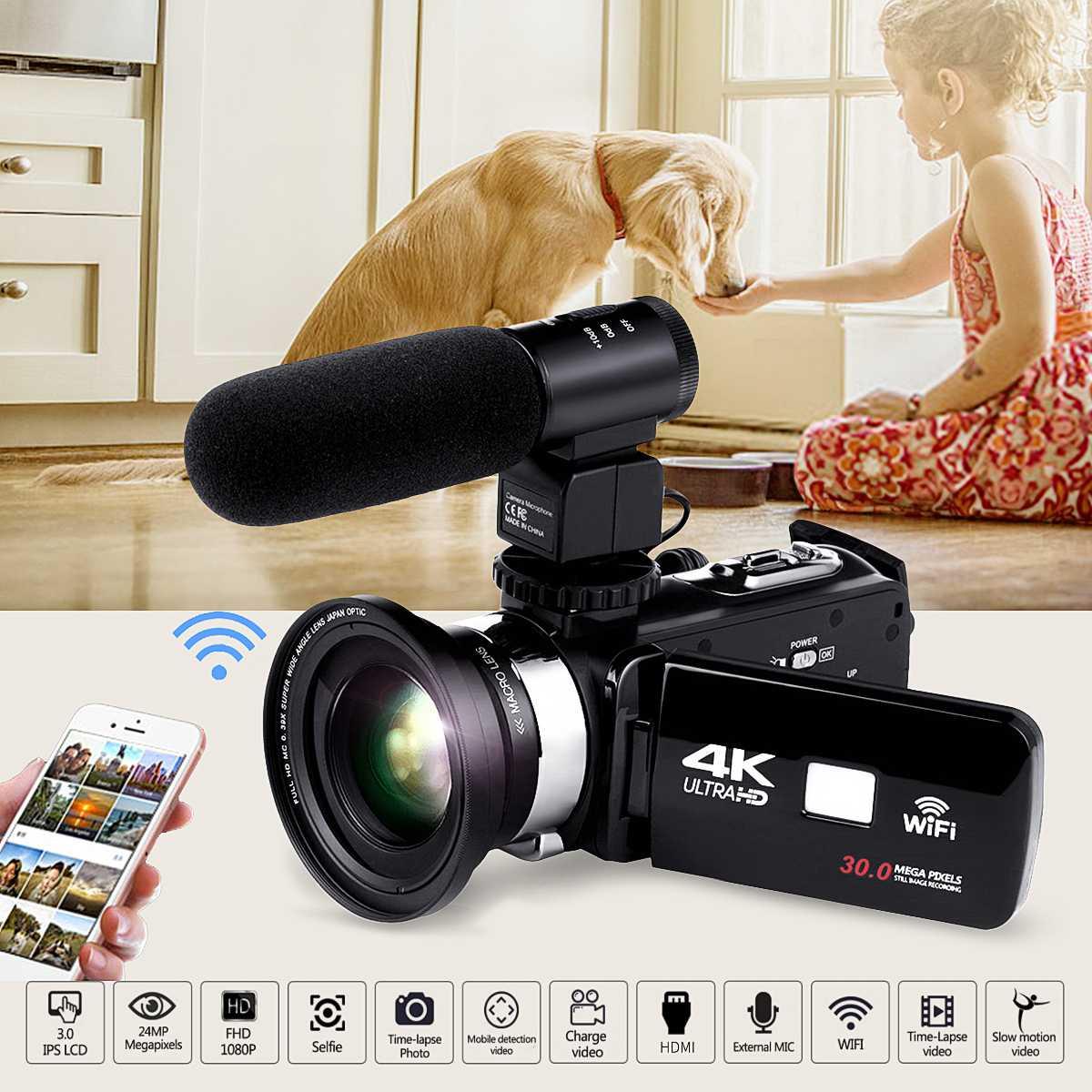 4K WiFi Ultras HD 1080P CMOS 12 миллионов пикселей Цифровая видеокамера DV + объектив + микрофон