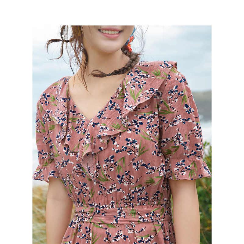 INMAN 2019 صيف جديد وصول الخامس الرقبة الأدبية الرجعية الأزهار عطلة نمط تعريف الخصر ضئيلة ألف خط المرأة فستان طويل