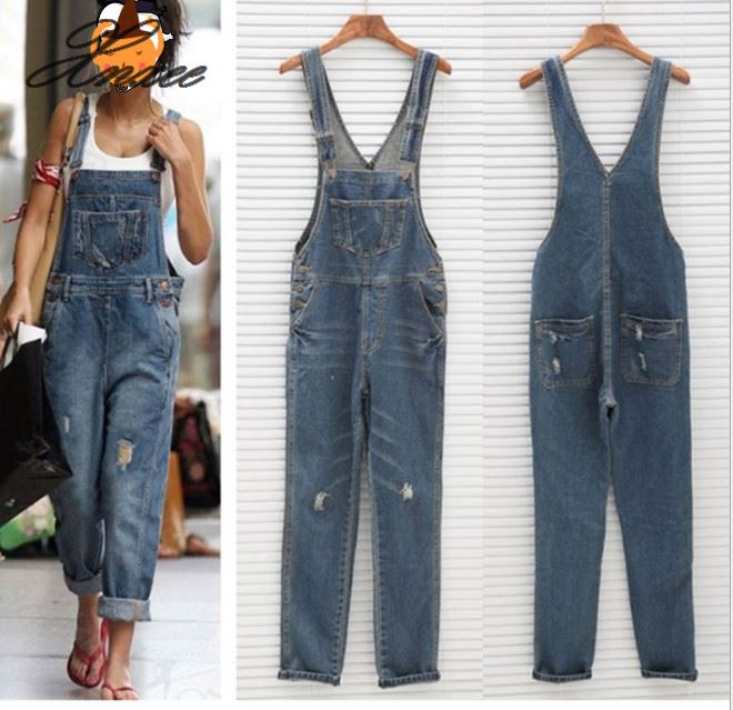 Jumpsuit Romper Pants Overall Jeans Casual-Hole Denim Ladies Girl 16 For Hot Washed