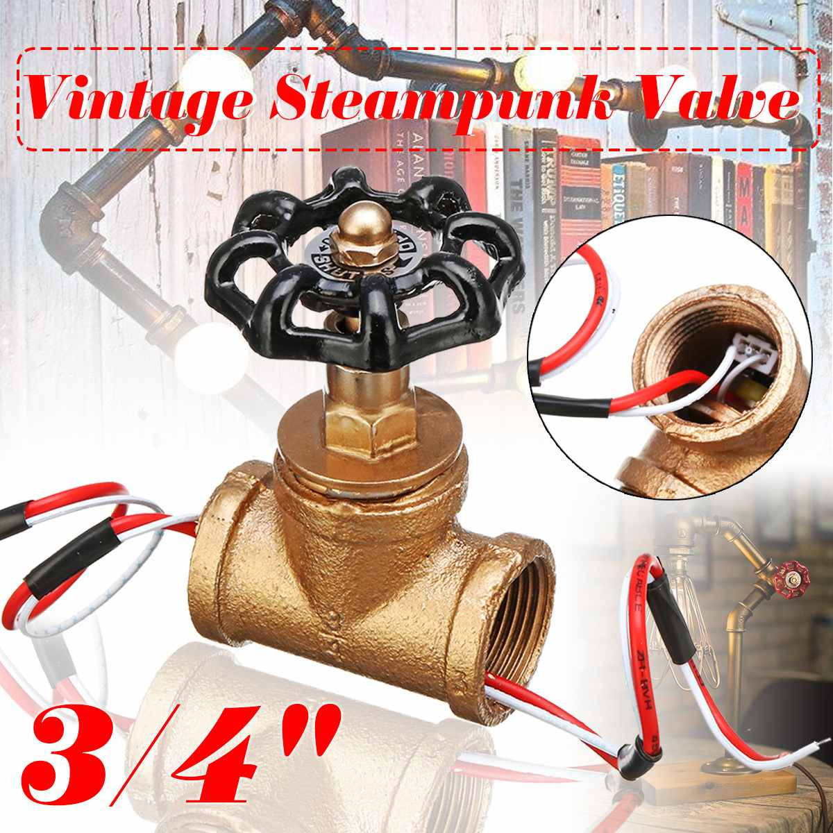 Water Pipe Fixtures Lighting  3/4 Inch Stop Valve Light Switch For  Lamp Loft Style Iron Valve Vintage Table Lamp