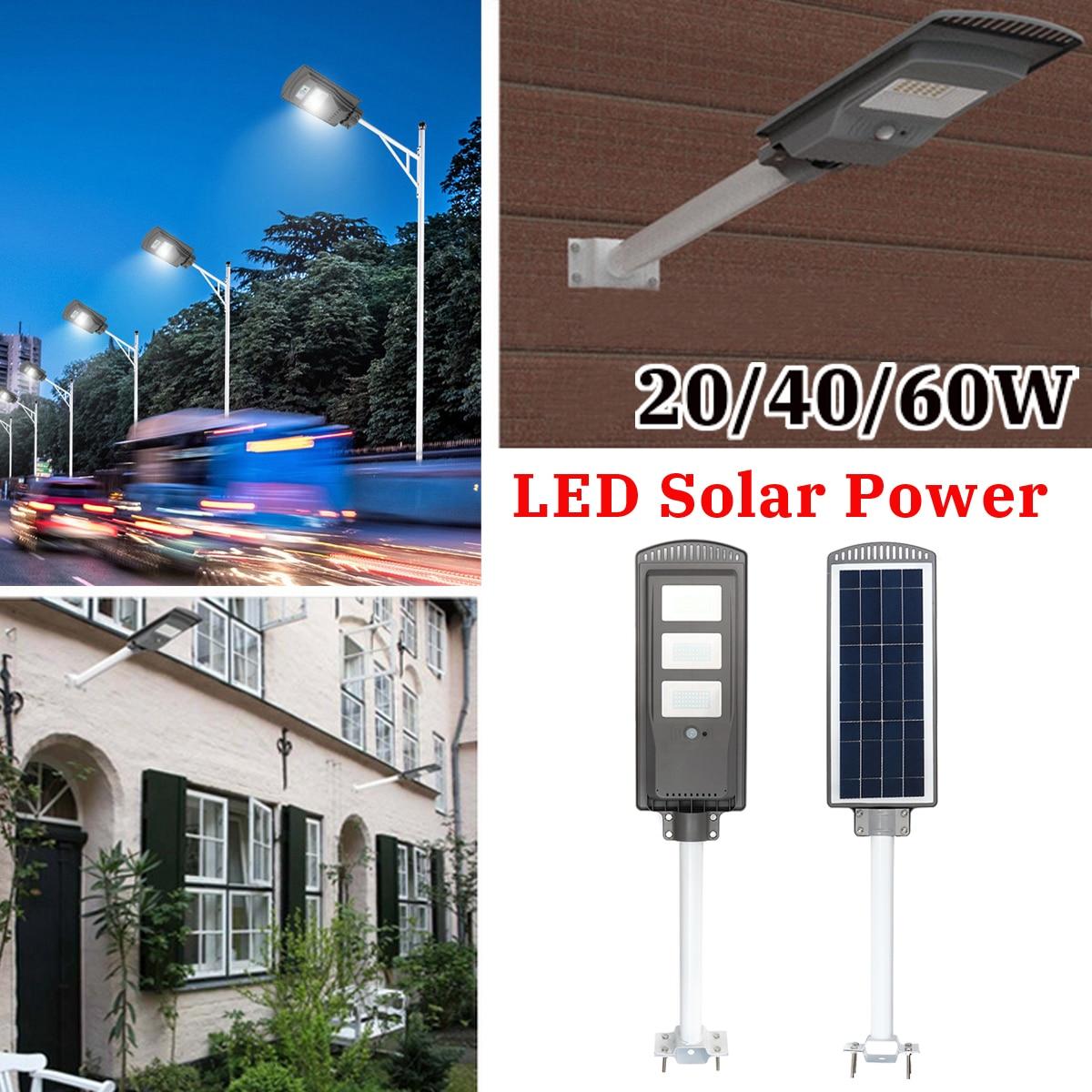 20//40W LED Solar Light Outdoor Wall Street Light Sensor Lamp Remote Control UK