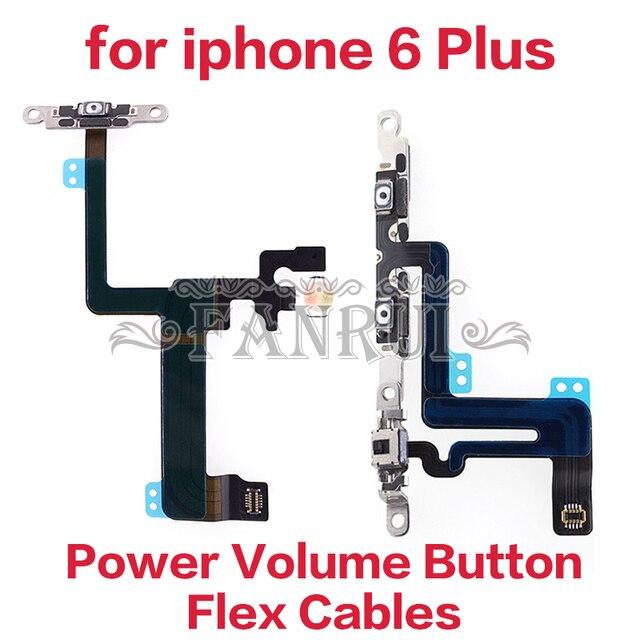 De potencia Original flex con soporte de Metal para iPhone 6 Plus mudo botón interruptor de volumen Cable Flex accesorios del teléfono móvil y partes
