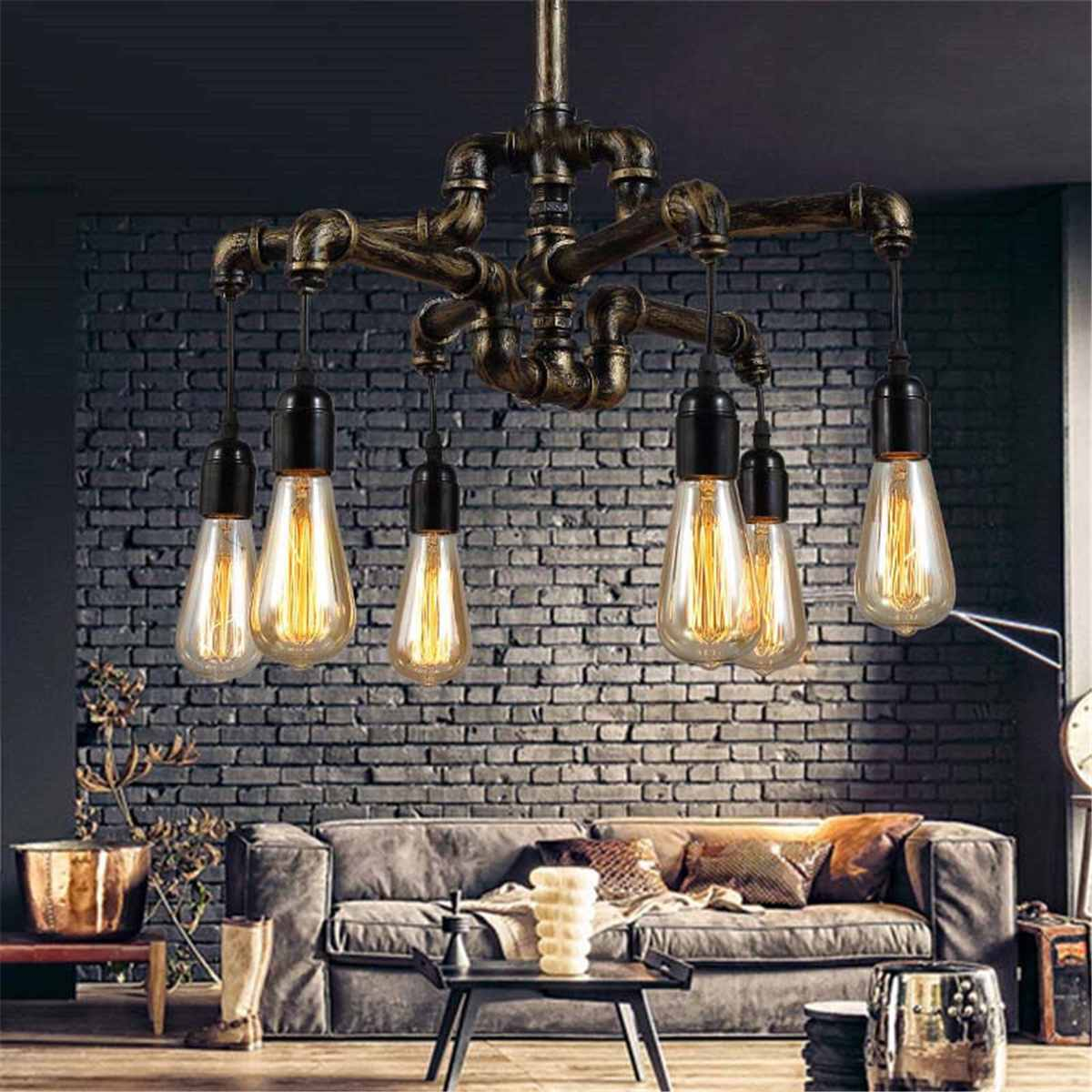 Vintage Loft Style Vintage Industrial Lamp With 4/6 Edison Lights Retro Water Pipe Pendant Light Hanglamp for Restaurant CoffeeVintage Loft Style Vintage Industrial Lamp With 4/6 Edison Lights Retro Water Pipe Pendant Light Hanglamp for Restaurant Coffee