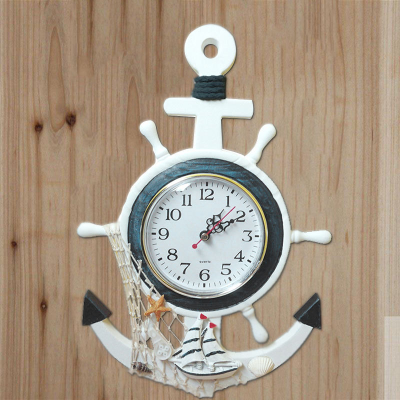 Wooden Mediterranean-Style Nautical Vintage Small Wall Clock Retro Sea Anchor Clocks Gift Home Decor Table Desktop Decoration