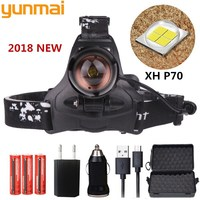 yunmai XHP50 Led 32W chip XHP70 Headlight 32000lum powerful Led headlamp zoom head lamp flashlight torch Lantern Head light S25