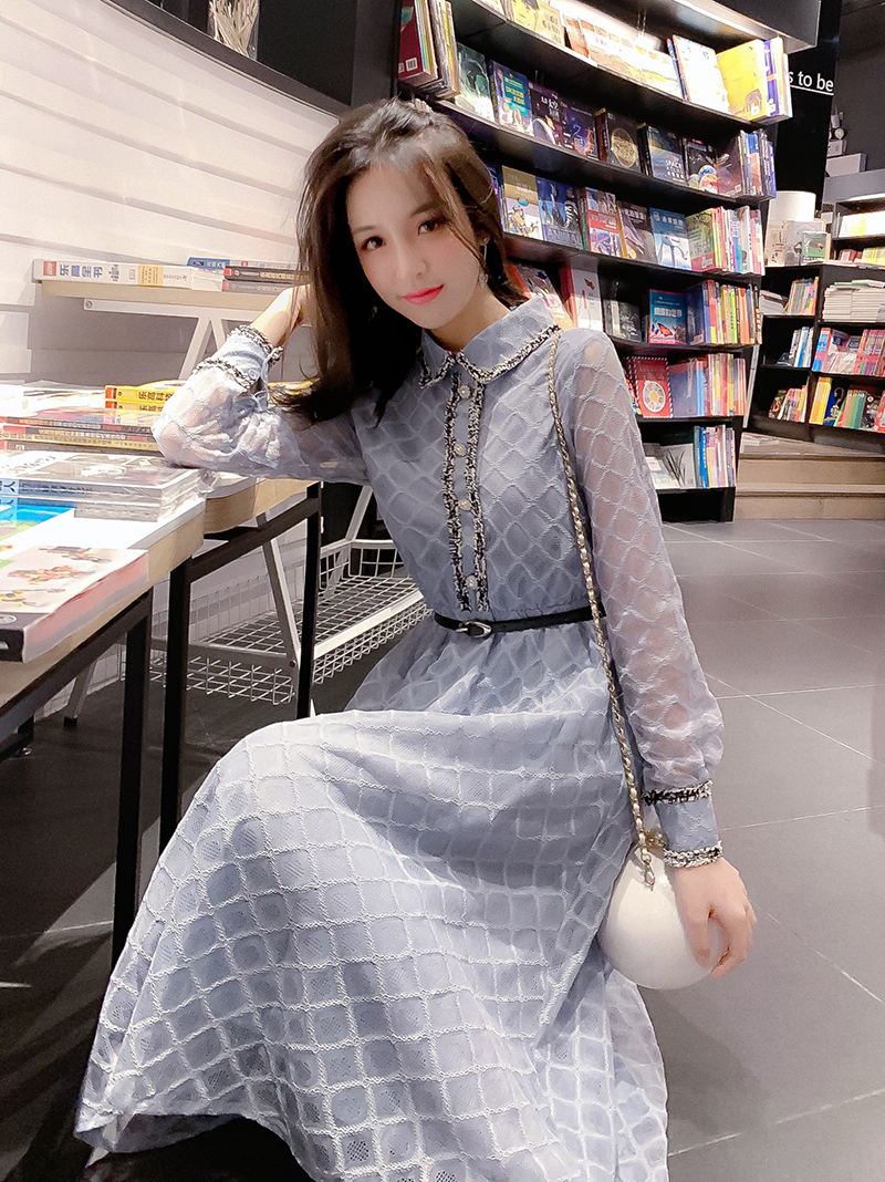 Sweet Spring Dress Women Knitted Lace Dress Long Sleeve Slim Sweater Dress Bodycon Casual Long Dress Spring 2019 Vestidos in Dresses from Women 39 s Clothing