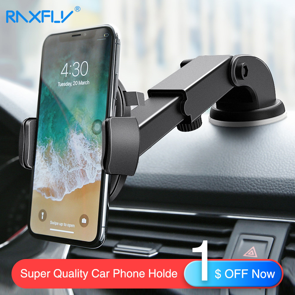 $7.69 RAXFLY Car Phone Holder For Samsung Galaxy S10 Plus S10 Lite S9 S7 Windshield Car Mount Phone Stand Car Holder For iPhone 7 8 X
