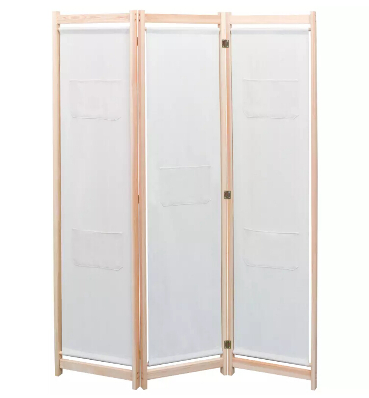 VidaXL 3-Panel Room Divider Solid Pine Wood Office Partitions Home Furniture Commercial