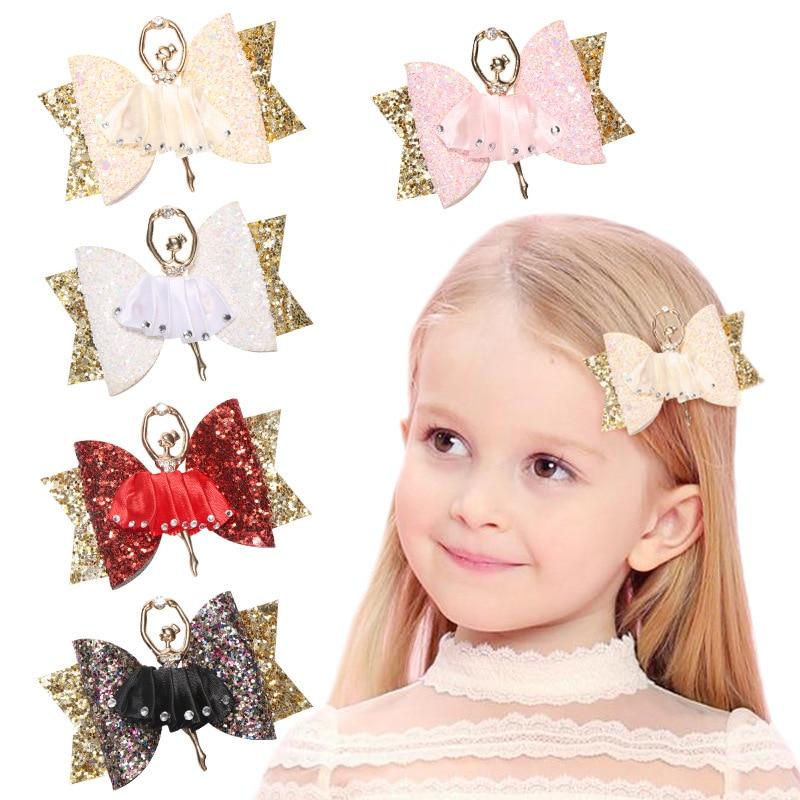 Ncmama Ballerina Glitter Hair Bows For Girls Shiny Princess Hair Clips Cute Handmade Hairpins Kids Barrettes Hair Accessories