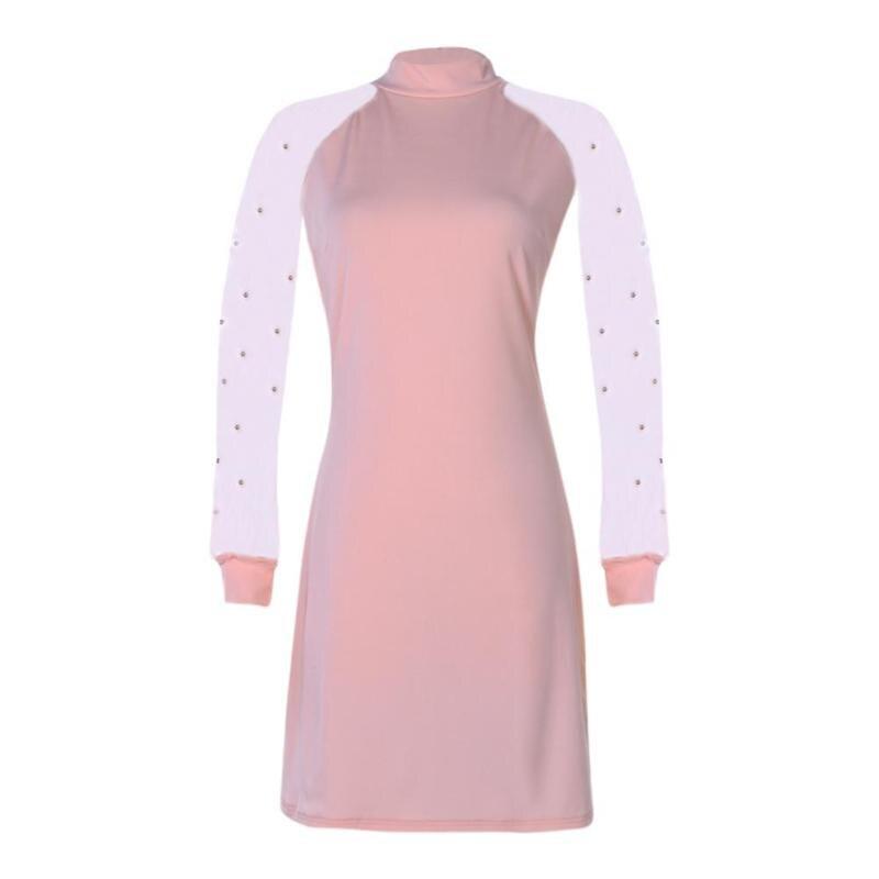 Women Dress Autumn Elegant Applique Gauze Sleeve Slim Solid Turtleneck High Waist Dresses