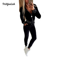 Pickyourlook Long Sleeve Clothing Set For Women Pearl Zipper Black Ladies Outfit Set Autumn Fashion Female Clothes Tops + Pants