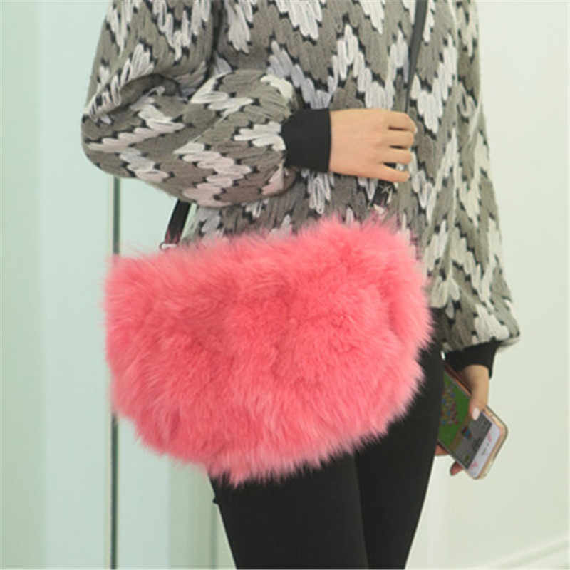 ... Fashion Designer Real Fox Fur Women Messenger Bag Winter New Women  Chain Shoulder Bag Luxury Fur adea6abecf564
