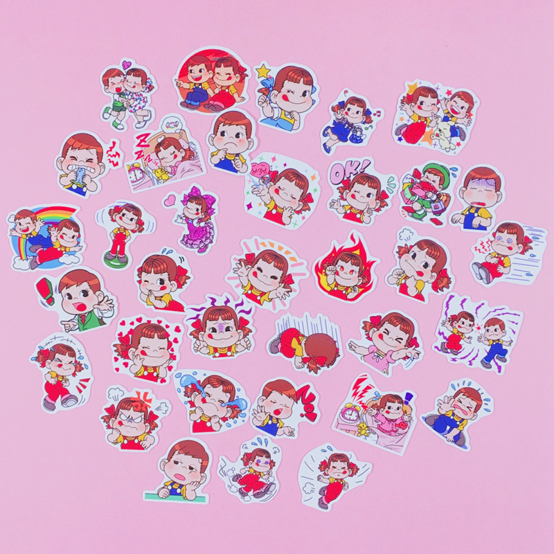Купить с кэшбэком 35Pcs/Pack Japanese Cartoon Character Sticker Bag Hand Account Peripheral Sticker Cartoon Cute  Diary Stickers Decoration Tool