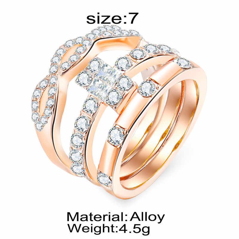 3Pcs Crystal Ring Set For Women Jewelry Full Crystal Cross Rings Rose Gold Ring For Women Engagement Wedding Promise Rings Femal