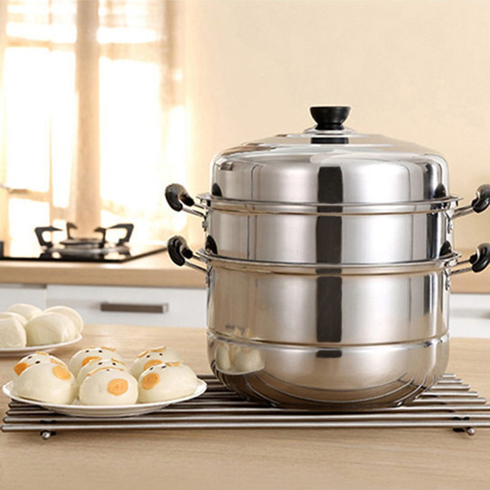 Stainless Steel Three-layer Thick Steamer Multifunction Soup Steam Pot Universal Cooking Pots For Induction Cooker Gas Stove