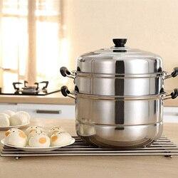 Trójwarstwowy gruby parowiec ze stali nierdzewnej wielofunkcyjna zupa garnek parowy uniwersalne garnki na kuchenka indukcyjna kuchenka gazowa