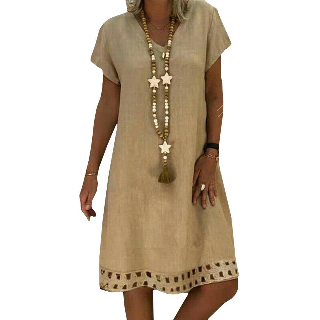 2019 Summer Vintage Hollow Out Dress Plus Size Women Style Vestido Cotton Linen Casual Ladies Loose Dresses Feminino 1