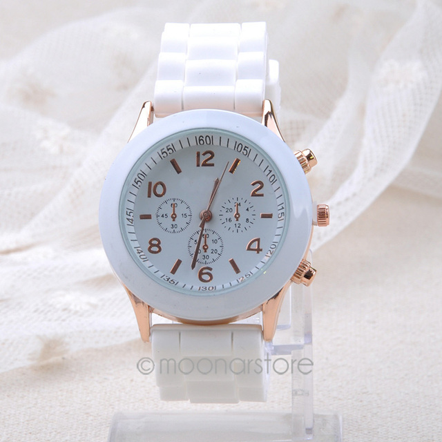Fashion Geneva Creative Watches Women Casual Elegant Quartz Silicone Women Watch
