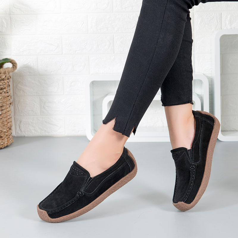Women flats 2019 Spring Genuine   Leather   Casual Shoes Woman Loafers Cow   Suede   Women moccasins mother's shoes big size 35 - 43