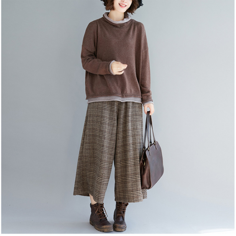 4aa4b9dee65 BUYKUD Women Autumn and Winter Wide Leg Pants Casual Cotton Linen Loose  Style Plus Size Plaid Elastic Waist Pockets Women Pants