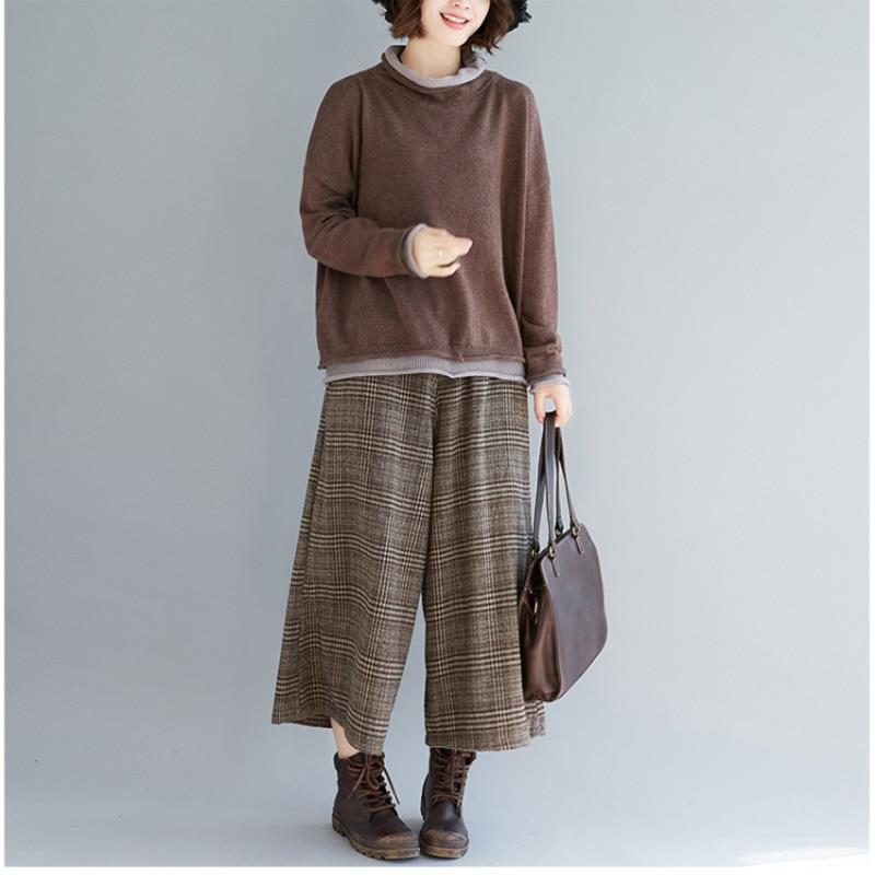 BUYKUD Women Autumn and Winter Wide Leg Pants Casual Cotton Linen Loose Style Plus Size Plaid Elastic Waist Pockets Women Pants