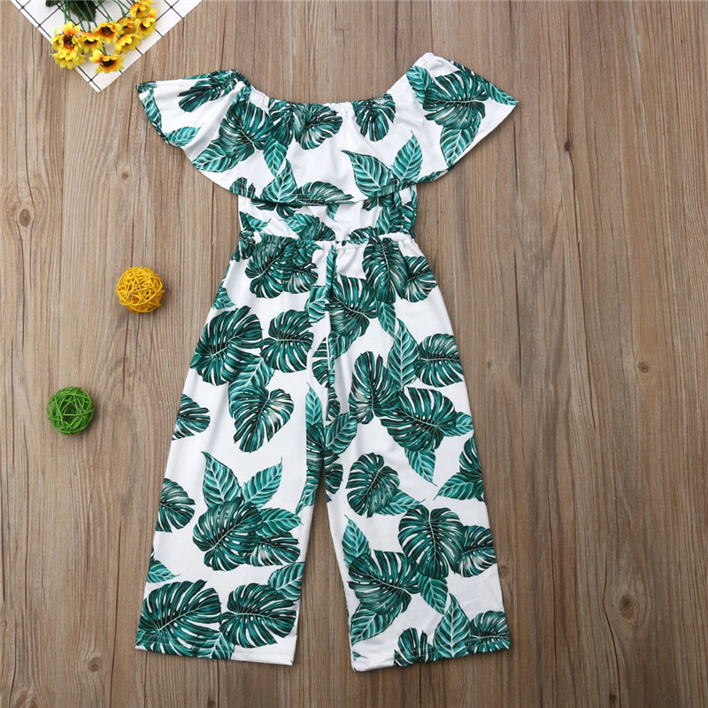 Summer Clothing Leaves Printed Off Shoulder Jumpsuit Kid Girl High Waist Wide Leg Pants Sunsuit 3-8Y Boho Kids Baby Girl   Romper