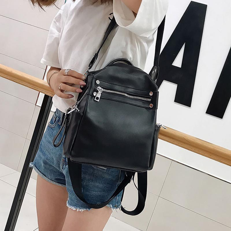 Fashion Women Backpack Pu Leather Brands Female Backpacks High Quality Schoolbag Backpack Elegant Mochilas Escolar Feminina in Backpacks from Luggage Bags