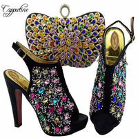 New Fashion Rhinestone Woman Black Shoes And Evening Bag Set Italy Style High Heel Shoes And Bag Set For Party On Stock SL005