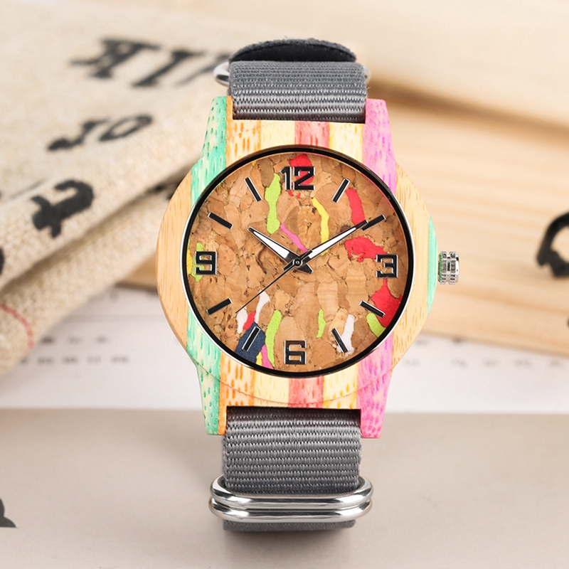 Creative Cork Slag/Striped Colorful Wood Watch Men's Luminous Hands Clock Ladies Dress Nylon Band Watches Unisex Reloj De Madera