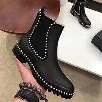 Модные женские ботинки; обувь на платформе без шнуровки на низком каблуке; удобные женские ботильоны