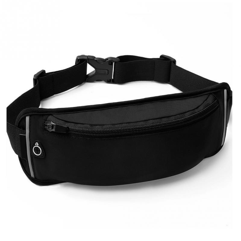 bc54a3a957e02 Waterproof Nylon Fanny Pack for Men Women Zipper Waist Bag Running Hiking Belt  Bag with Keychain Outdoor Sports Bum Bag Black