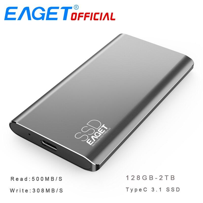 EAGET M1 TYPE C 128 gb-1 t Type C USB 3.1 Disque Dur Externe Portable SSD SSD Portable 500 mb/s Lire Mobile Lecteur à État Solide
