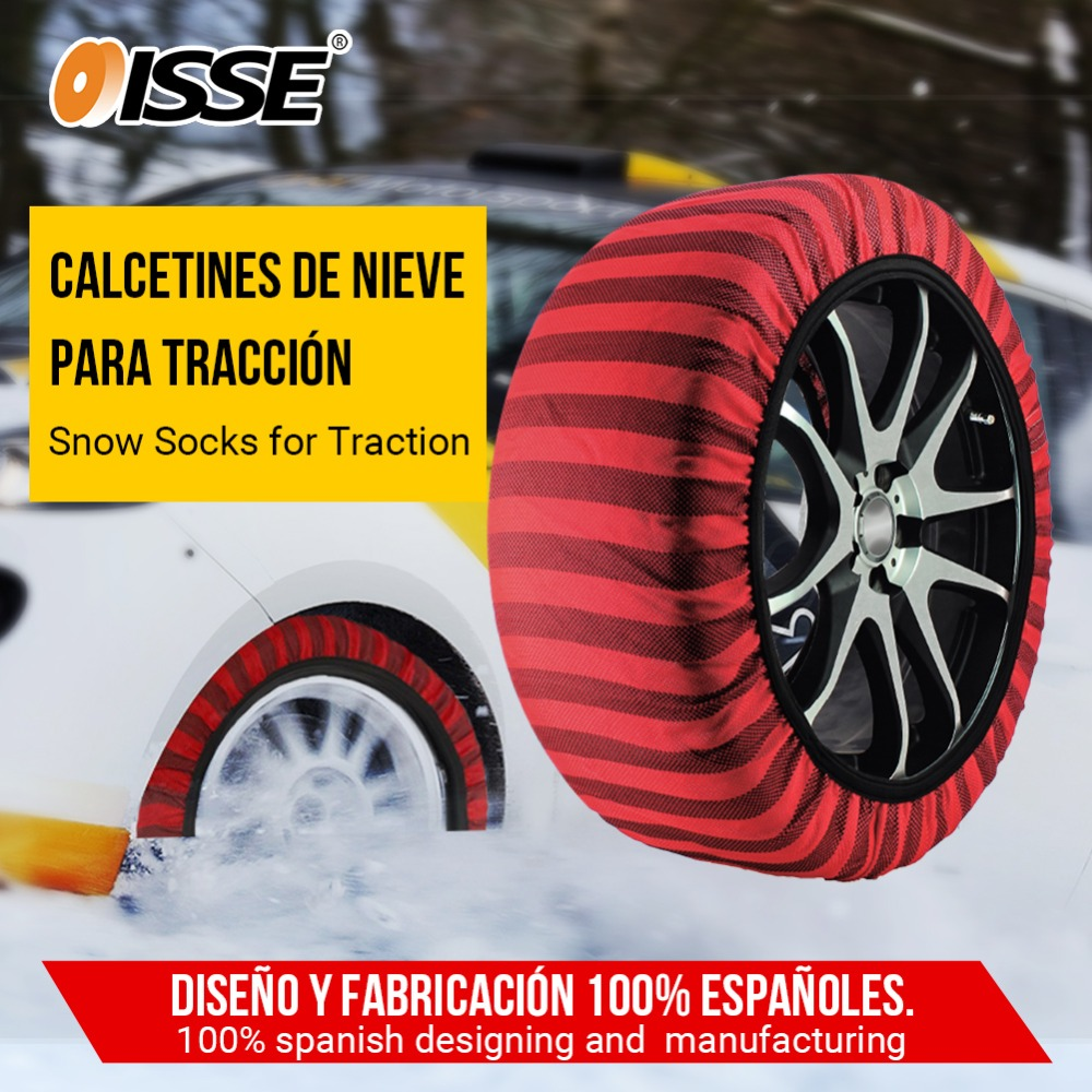 ISSE Automobiles Textile Snow Chains Set for Cars Trucks Anti Slip Fabric Tire Chain Socks Traction for Snow Ice Universal Tyre image