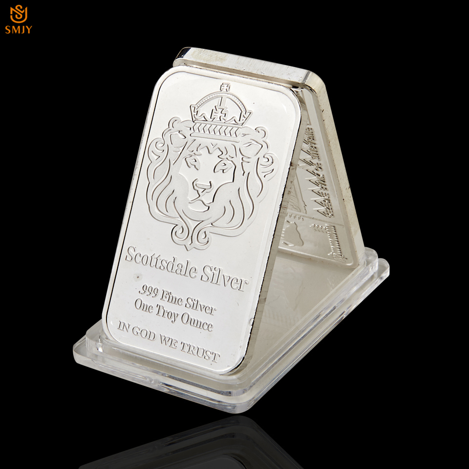 Us 2 81 28 Off Rare 999 Fine Silver One Troy Ounce Usa Scottsdale Plated Metal Souvenir Bullion Bars Coin With Protective Capsules In