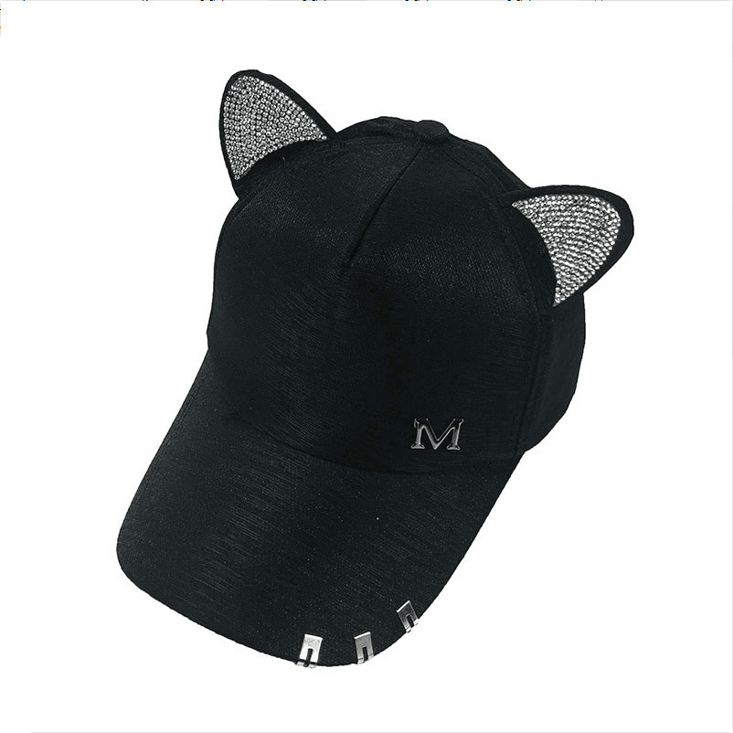 67ce890a869 Detail Feedback Questions about 2019 new meow Women s Summer fall black  white Pink hat Cat ears Cat Baseball cap cute Lady hip hop cap on  Aliexpress.com ...