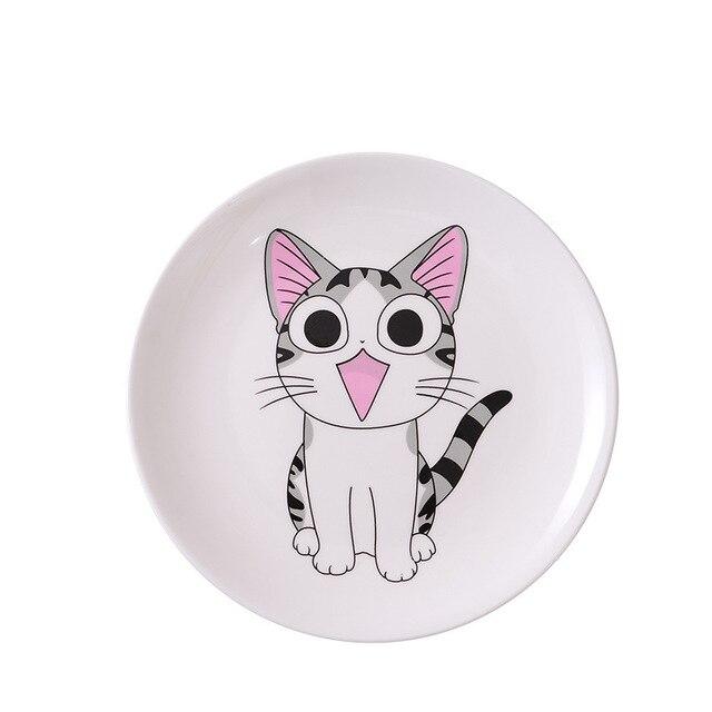 Dessin animé chat en céramique assiette créative Cuisine plat mignon blanc plaque Steak riz soupe os chine vaisselle cadeau céramica plat 4