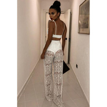 Two Piece Set 2019 Summer Women 2 PC Transparent Tank Tops Sexy White Lace Hollow Out Pants