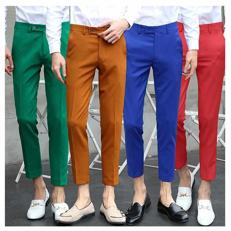 2019 New Casual Business Suit Pants Men's Suit Trousers Male 4 Colors Solid Color Slim Fit Mens Trousers Pantalon Homme Costume