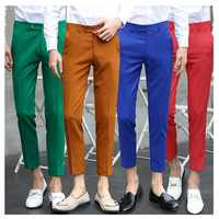 Мужские деловые брюки, повседневные облегающие брюки, 4 цвета, 2019