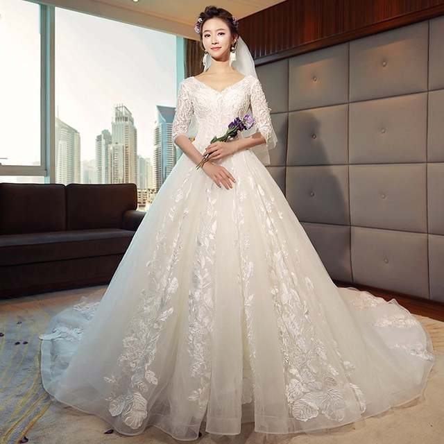 Luxury Ball Gown Wedding Dresses Lace Short Sleeves Wedding Dress Plus Size  Bridal Gown Royal Train Princess Wedding Gowns 2018