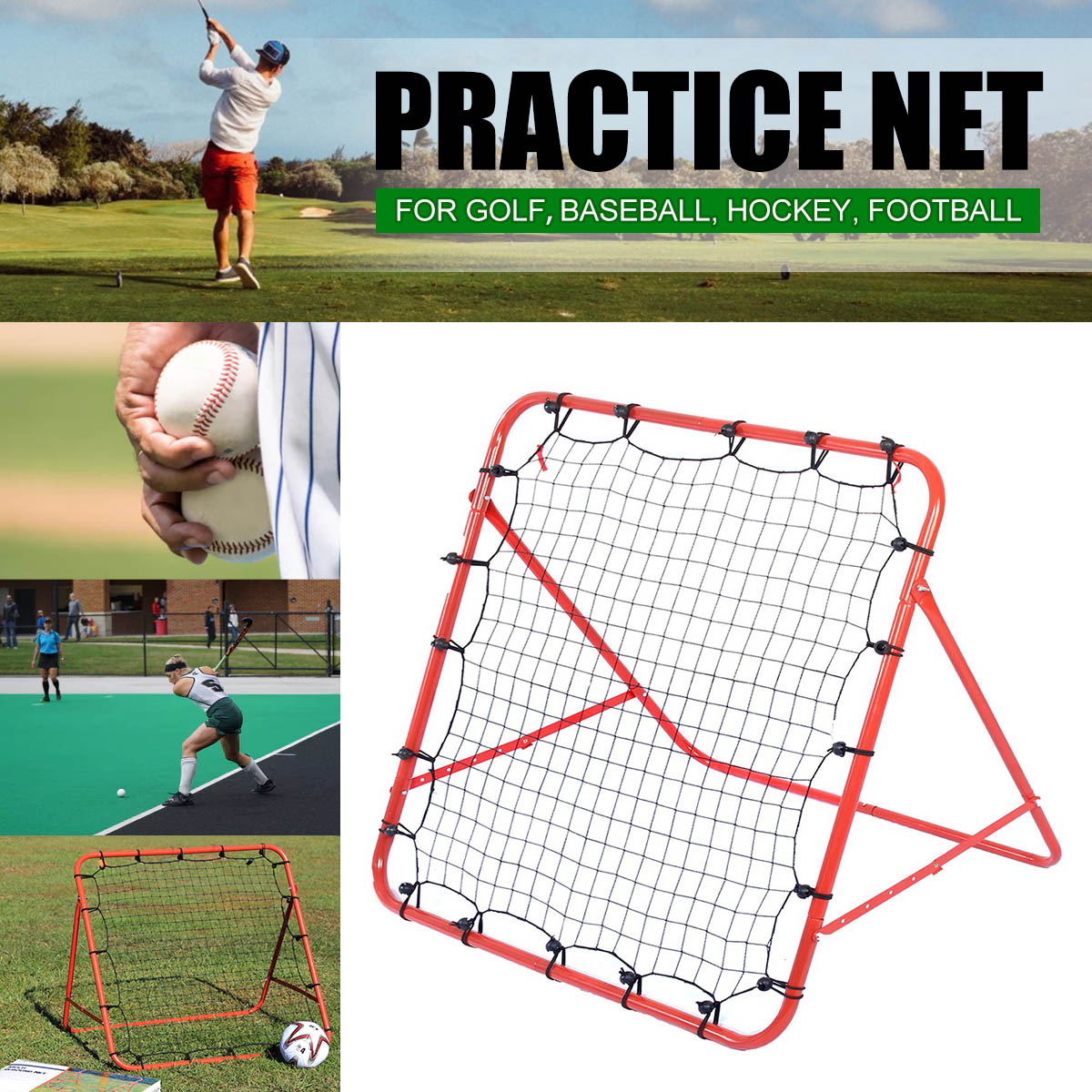 Soccer Football Rebound Target Mesh Net Adjustable Kickback Soccer Target  Goal Baseball Soccer Training Aid Tool 03a42114119b