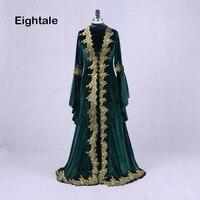 Eightale марокканской кафтан Aarabic дубайские вечерние платья Бархат платье для выпускного вечера с золотыми кружевами зеленый Ral фото мусульман