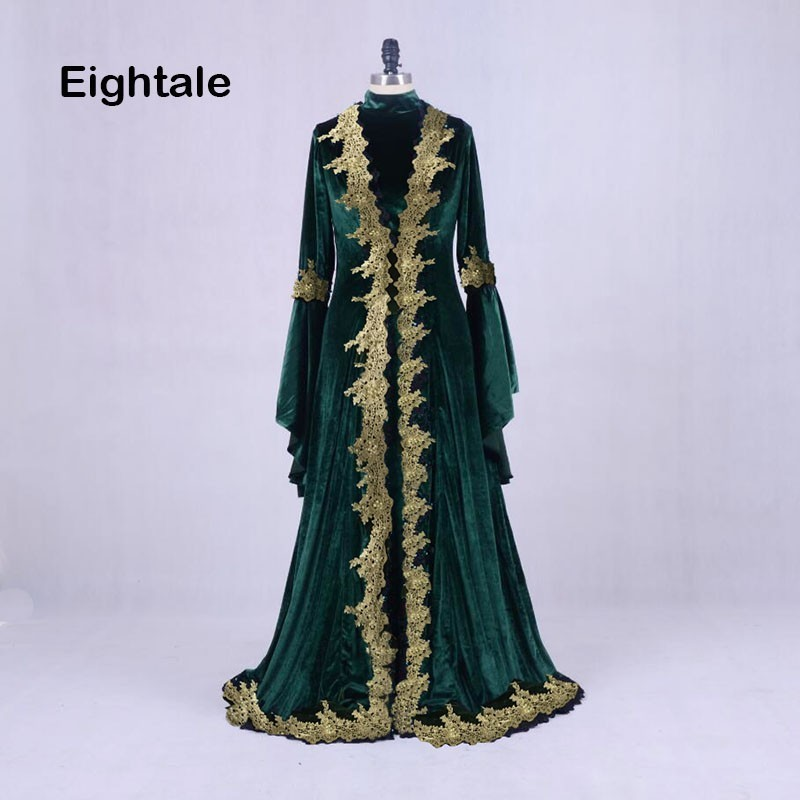 Evening Dresses Competent Eightale Moroccan Kaftan Aarabic Evening Dresses Dubai Velvet Prom Dress With Gold Lace Green Ral Photo Muslim Abaya Gown