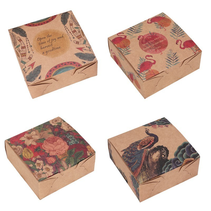 20 PCS Kraft Paper Gift Box Flowers Flamingo Peacock Brown Paper Food Packaging Box Candy Cookie Paper Gift Boxes Wedding Favour