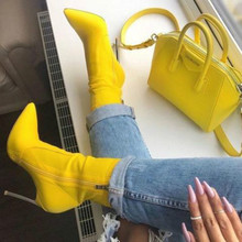 Women Ankle Boots Women Pointed Toe Thin Heels Boot Yellow Shoes Blade heel Boots Women Side Zipper Sexy Autumn Booties moraima snc spring autumn sexy women long boots cowboy vamp fringe side zipper pointed toe thin high heels riding boots