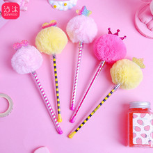 Creative Fresh Hair Ball Pen Little Crown Gel Cute Korea Black Water Refill Students  Stationery