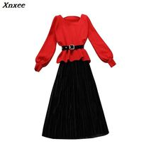 2019 autumn and winter new female V-neck long sleeve knitted sweater + strap velvet pleated dress suit women two piece sets