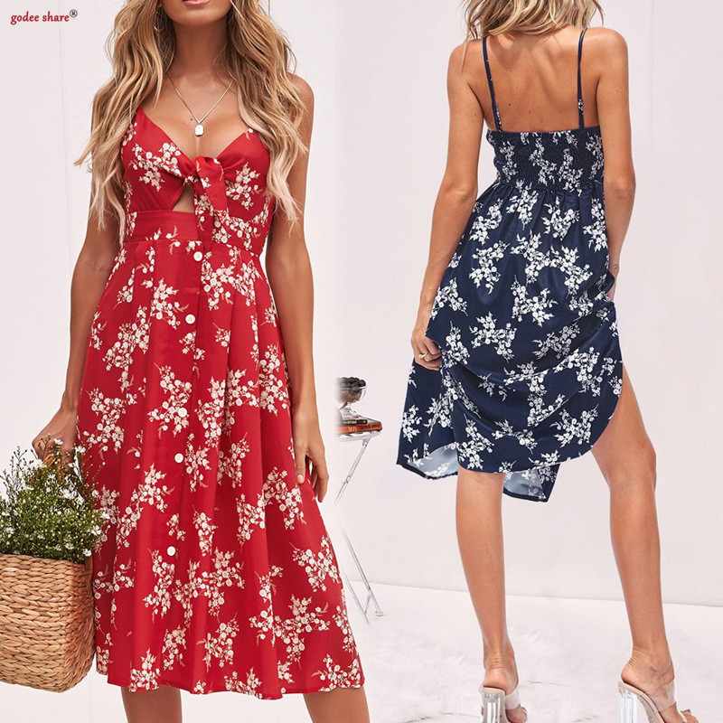 2019 Summer Women Floral Printed Dresses Sling Sleeveless Backless V Neck Bandage Sexy -7689