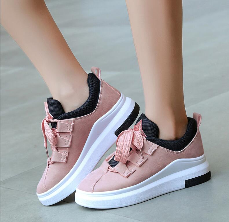 Detail Feedback Questions about Tenis Feminino 2019 Spring Designer Pink Black  Platform Sneakers Casual Women Shoes Pu Leather Thick Sole Wedges Sneakers  ... d63ae2f4fdc7